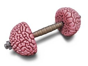 Brain dumbbells. Intellectual training metaphor. 3d illustration