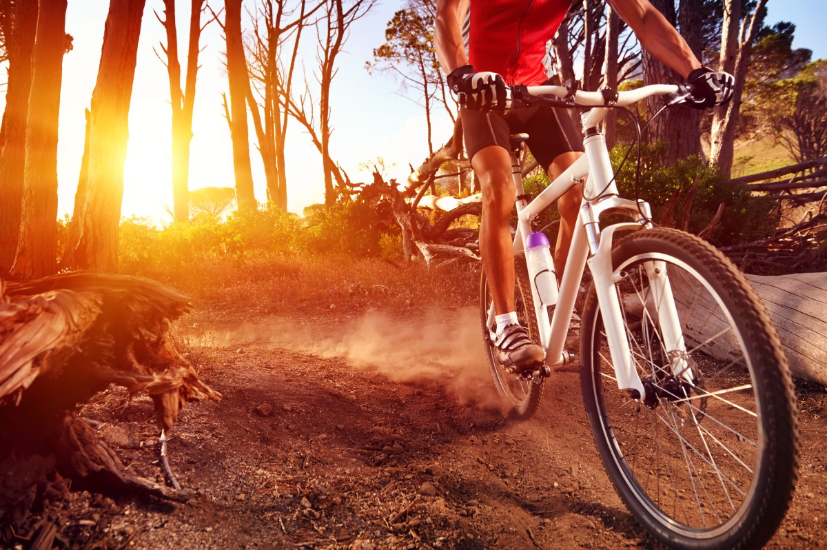 Mountain Bike cyclist riding single track at sunrise healthy lif