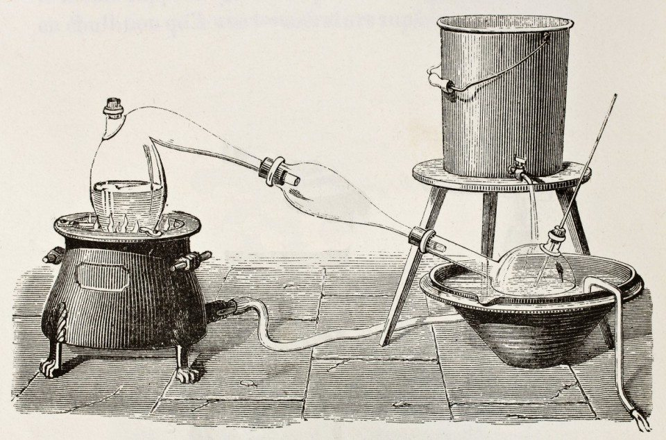 Old illustration of water distillation apparatus. Original, created by Javandier, was published on L'Eau, by G. Tissandier, Hachette, Paris, 1873.