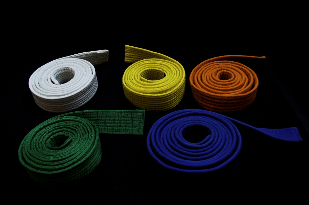 Several martial arts belts