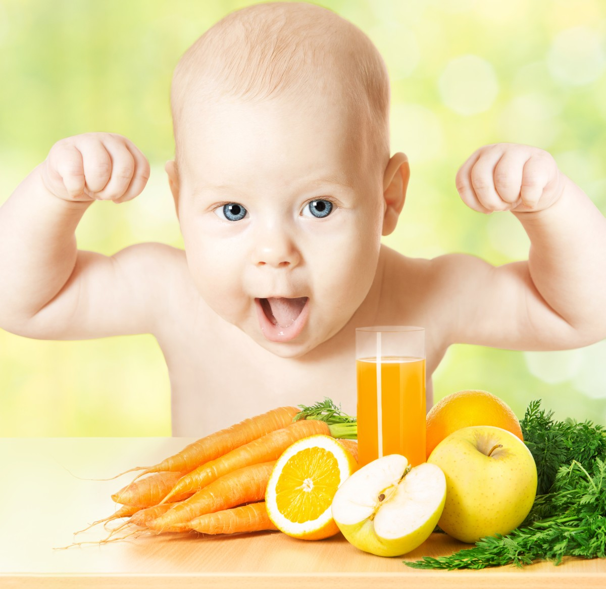 Strong Baby Fresh Fruit Meal And Juice Glass. Healthy Vitamin Ve